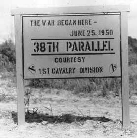 Crossing the 38th parallel. United Nations forces withdraw from Pyongyang, the North Korean capital. They recrossed the 38th parallel., 1950. Credit: National Archives