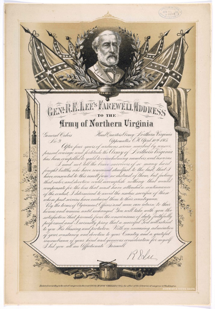 Poster with reprint of Robert E. Lee's farewell address to the Army of Northern Virginia: April 10, 1865. Credit: The Library of Congress.