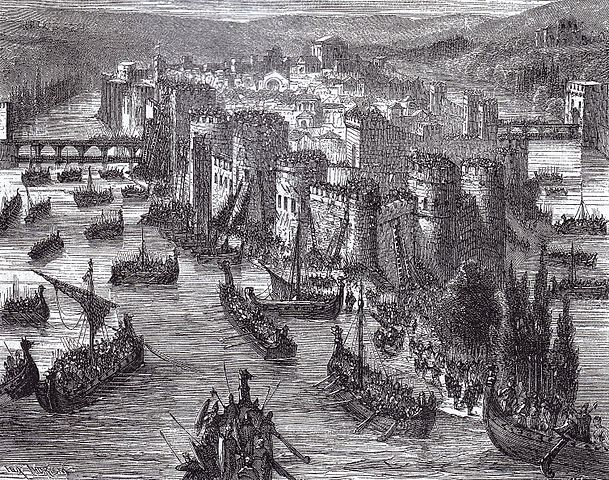 Viking long ships besieging Paris in 845, 19th century portrayal. By Unknown. Image is in the public domain via Wikimedia.com</em